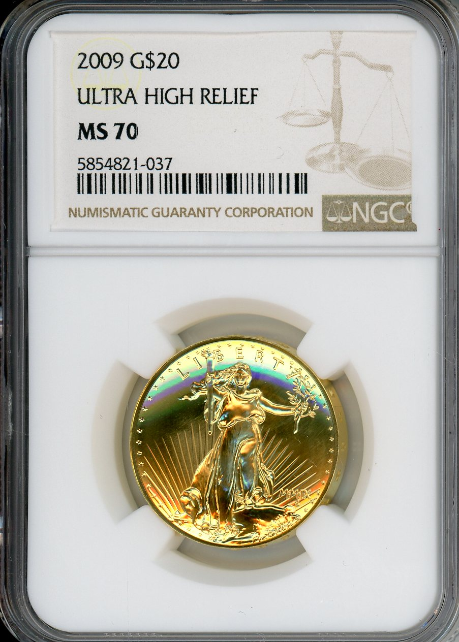 2009 $20 Gold Eagle Ultra High Relief NGC MS70