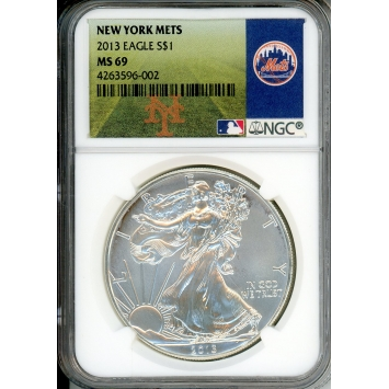 2013 $1 Silver Eagle NGC MS69 NY Mets Label